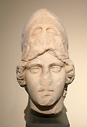 Head of Athena made of marble.  Found in the Stoa of Attalos, Athens.  The goddess wears the Corinthian helmet with raised cheek pieces adorned with relief ram's heads.  This belongs to the Athena Giustiniani type and is a copy made in the 2nd century BC of an original dating from 400-390 BC