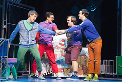 © Licensed to London News Pictures. 11/10/2012. London, England. L-R: Richard Lowe as Lucas, Aaron Sidwell as Michael, Daniel Buckley as Marvin and Lil' Chris as Francis. LOSERVILLE, a new original British musical created by Elliot Davis and James Bourne, is set in 1971 in an American High School and features Aaron Sidwell (EastEnders), Eliza Hope Bennett (Nanny McPhee), Stewart Clarke, Charlotte Harwood (Hollyoaks), Richard Lowe, Lil' Chris (Rock School) and Daniel Buckley. Photo credit: Bettina Strenske/LNP