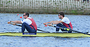 Reading. United Kingdom.  GBR M2-.  Bow. Matthew TARRANT and Scott DURANT, in the opening strokes of the morning time trial. 2014 Senior GB Rowing Trails, Redgrave and Pinsent Rowing Lake. Caversham.<br /> <br /> 11:06:34  Saturday  19/04/2014<br /> <br />  [Mandatory Credit: Peter Spurrier/Intersport<br /> Images]