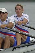 2002 FISA World Cup. Hazewinkel. BEL.       Friday  14/06/2002     .email images@Intersport-images.com.[Mandatory Credit: Peter Spurrier/Intersport Images]  .                                 /06/2002.Rowing. .SLO M2X Luka Spik bow and Gregor Novak Rowing, FISA WC.Hazenwinkel, BEL