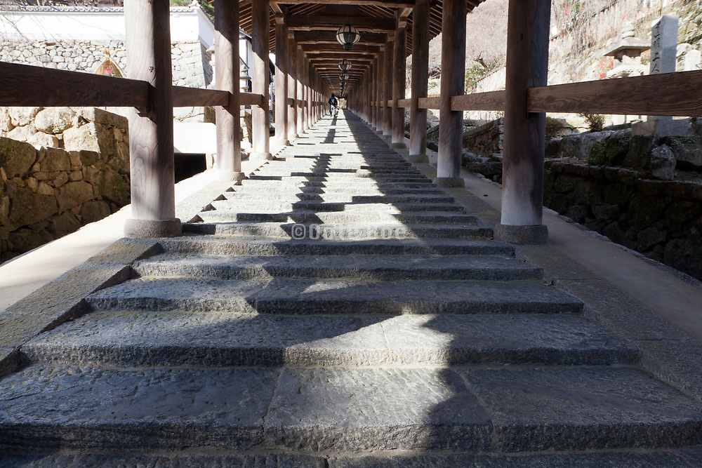 stairs leading up to Hasedera temple Nara prefecture Japan