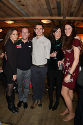 Left to right, ALEXANDRA BRADFORD, CHRIS DOWNEY, JACO VANGASS, EMMA PARKER and SOPHIE MONTAGNE at a party in honour of the Walking With The Wounded team members held at Bodo's Schloss, 2A Kensington High Street, London on 13th November 2013.