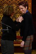 Officiele Huldiging van de Olympische medaillewinnaars Sochi 2014 / Official Ceremony of the Sochi 2014 Olympic medalists.<br /> <br /> Op de foto:  Jorien ter Mors krigt de onderscheiding van Ridder in de Orde van Oranje-Nassau