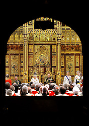 File photo dated 27/05/15 of Queen Elizabeth II and the Duke of Edinburgh awaiting the arrival of the Commons MPs during the State Opening of Parliament, in the House of Lords at the Palace of Westminster in London. The Duke of Edinburgh has died, Buckingham Palace has announced. Issue date: Friday April 9, 2020.. See PA story DEATH Philip. Photo credit should read: John Stillwell/PA Wire