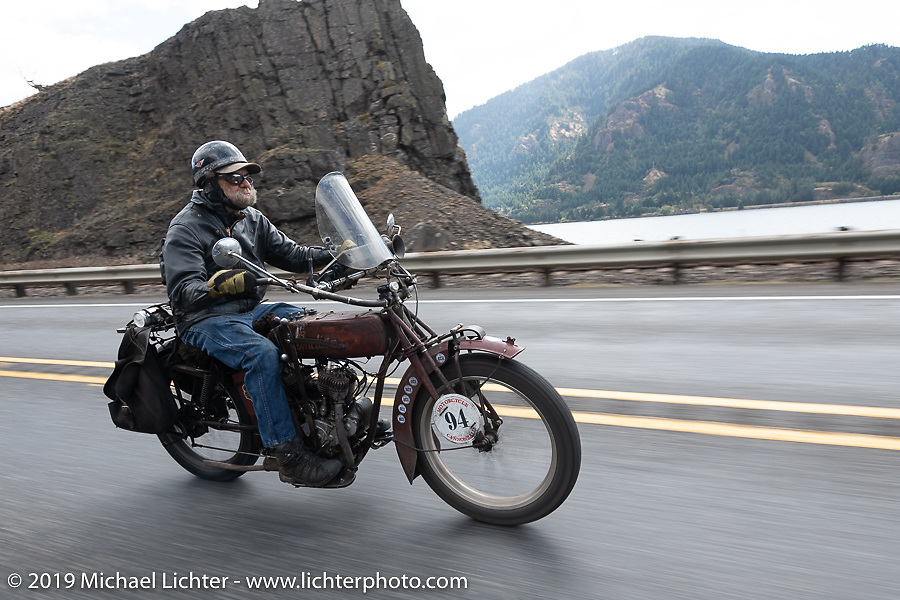Rich Rau riding his 1916 Indian Powerplus in the Motorcycle Cannonball coast to coast vintage run. Stage 15  (51 miles - the Grand Finish) from The Dalles to Stevenson, OR. Sunday September 23, 2018. Photography ©2018 Michael Lichter.