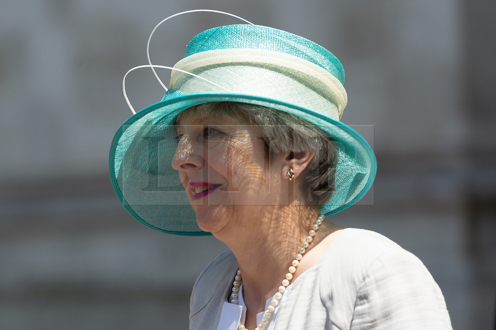 © Licensed to London News Pictures. 22/06/2018. London, UK.  British Prime Minister THERESA MAY attends a service of Thanksgiving at Westminster Abbey to mark the 70th Anniversary of the Landing of the Windrush. The MV Windrush ship docked at Tilbury in the Port of London on 22nd June 1948 and  was carrying 492 passengers from the port of Kingston in Jamaica. Photo credit: Ray Tang/LNP