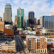 Kansas City MO aerial panoramic image, an afternoon in December, 2020.