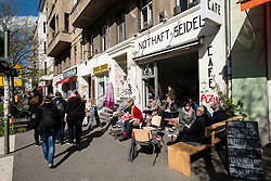 Small cafe on street in Prenzlauer Berg Berlin Germany