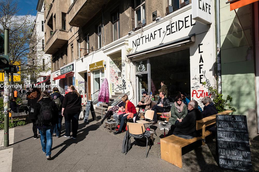 Small cafe on street in Prenzlauer Berg Berlin Germany