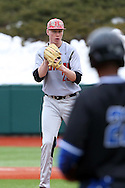 21 February 2015: Hartford's Brian Murphy (23) keeps an eye on Duke's Jalen Phillips (22) who is taking a lead off of third base. The Duke University Blue Devils hosted the University of Hartford Hawks in an NCAA Division I Men's baseball game at Jack Coombs Field in Durham, North Carolina. Duke won the game 5-1.