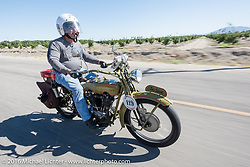 Birtrand Miskell riding his 1916 Harley-Davidson during the Motorcycle Cannonball Race of the Century. Stage-14 ride from Lake Havasu CIty, AZ to Palm Desert, CA. USA. Saturday September 24, 2016. Photography ©2016 Michael Lichter.