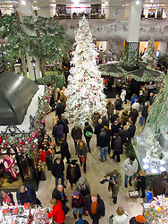 Christmas tree and decorations in foyer of famous KaDeWe (Kaufhaus des Westens)department store in Berlin Germany