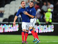 Fotball<br /> 06.06.2011<br /> Foto: Witters/Digitalsport<br /> NORWAY ONLY<br /> <br /> 1:4 Jubel v.l. Franck Ribery, Torschuetze Marvin Martin (Frankreich)<br /> <br /> Testspiel, Ukraina v Frankrike 1:4
