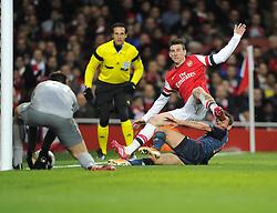 Arsenal's Laurent Koscielny denies Bayern Munich's Rafinha - Photo mandatory by-line: Joe Meredith/JMP - Tel: Mobile: 07966 386802 19/02/2014 - SPORT - FOOTBALL - London - Emirates Stadium - Arsenal v Bayern Munich - Champions League - Last 16 - First Leg