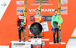 19.03.2017, Vikersundbakken, Vikersund, NOR, FIS Weltcup Ski Sprung, Raw Air, Vikersund, Finale, im Bild Kamil Stoch (POL, 2. Platz), RAW Air Gesamtsieger Stefan Kraft (AUT), Andreas Wellinger (GER, 3. Platz) // 2nd placed Kamil Stoch of Poland, RAW Air Overall Winner Stefan Kraft of Austria, 3rd Placed Andreas  Wellinger of Germany  //  during the 4th Stage of the Raw Air Series of FIS Ski Jumping World Cup at the Vikersundbakken in Vikersund, Norway on 2017/03/19. EXPA Pictures © 2017, PhotoCredit: EXPA/ Tadeusz Mieczynski