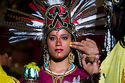 The show Bani Stui Gulal tells the story of the Guelaguetza as it evolved through the ages, from pre-Hispanic origins to modern times, here performed in Dance Square, next to the Basilica de la Soledad, in Oaxaca City, Oaxaca, Mexico on July 19, 2008. The Guelaguetza is an annual folk dance festival in Oaxaca - dancers from different regions of the state gather in celebration in Oaxaca City and towns in the Central Valley to perform their regional dances wearing traditional costumes and throw regional specialties as gifts into the crowds.