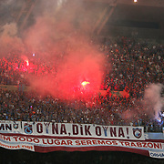 Trabzonspor's supporters during their UEFA Champions League third qualifying round, second leg, soccer match Trabzonspor between Benfica at the Ataturk Olimpiyat Stadium at İstanbul Turkey on Wednesday, 03 August 2011. Photo by TURKPIX