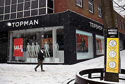 Snow comes to Norwich, UK February 2021. Top Shop will not be reopening after lockdown 3 finishes - a victim of the Arcadia Group demise