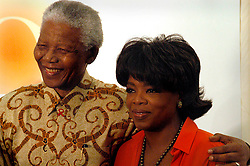 Former President Mandela and Talk Show host Oprah Winfrey at the groundbreaking ceremony for the Oprah Winfrey school for girls. Picture: Shayne Robinson/SAPA