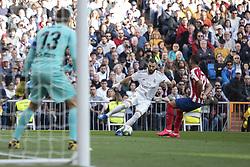 Real Madrid´s Karim Benzema and Atletico de Madrid´s Renan Lodi during La Liga Real Madrid v Atletico de Madrid football match at Santiago Bernabeu Stadium in Madrid, Spain. February 01, 2020. Photo by David Jar/AlterPhotos/ABACAPRESS.COM