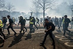 March 23, 2019 - Lyon, France - Nineteenth day of yellow vest mobilization in Lyon, France, on March 23, 2019. Violence broke out at the beginning of the demonstration, police used tear gas to disperse the demonstrators. (Credit Image: © Nicolas Liponne/NurPhoto via ZUMA Press)