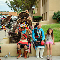 080615  Adron Gardner/Independent<br /> <br /> Members of the Fernando Cellicion dance group prepare for a performance at the McKinley County Courthouse in Gallup Thursday.