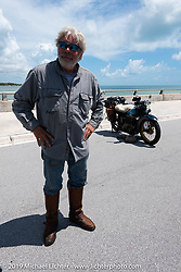Frank Westfall with his 1930 Henderson KJ at the final checkpoint of the Cross Country Chase motorcycle endurance run from Sault Sainte Marie, MI to Key West, FL. (for vintage bikes from 1930-1948). The staging area on a Key West pier just before the finish and near the end of the 110 mile Stage-10 ride from Miami to Key West, FL USA. Sunday, September 15, 2019. Photography ©2019 Michael Lichter.
