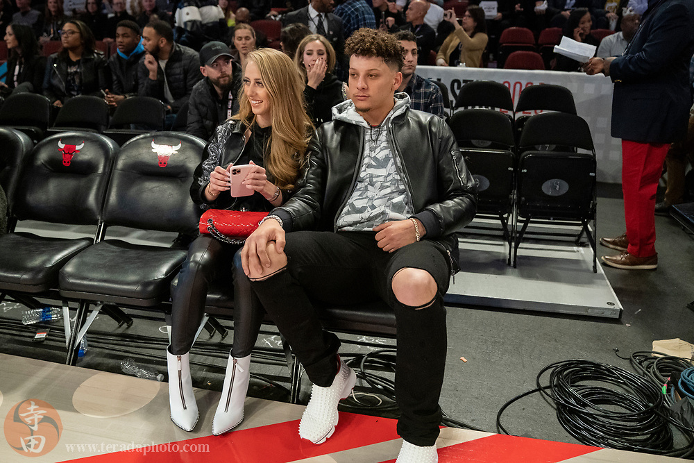 February 15, 2020; Chicago, Illinois, USA; Kansas City Chiefs quarterback Patrick Mahomes (right) and girlfriend Brittany Matthews (left) during NBA All Star Saturday Night at United Center.