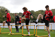 young players Ethan Ampadu of Wales © and Ben Woodburn of Wales ® during theWales football team training at the Vale Resort, Hensol , South Wales on Monday 2nd October 2017, the team are preparing for their FIFA World Cup qualifier away to Georgia this week. pic by Andrew Orchard, Andrew Orchard sports photography