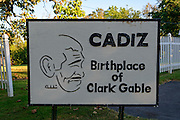Photo of sign noting the Birthplace of Clark Gable in Cadiz, Ohio.