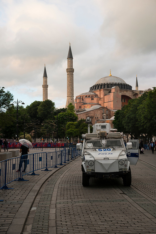 An armored police vehicle is parked near the Aya Sofia (Hagia Sophia) in Istanbul's tourist-centered Sultanahmet district, home of the Blue Mosque and Aya Sofia. In January 2016 an ISIS suicide bomber killed several people in the area.