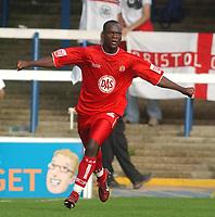 Fotball<br /> 04.09.2004<br /> Foto:SBI/Digitalsport<br /> NORWAY ONLY<br /> <br /> Coca Cola League One.<br /> Peterborough V Bristol City<br /> <br /> Bristol City's Leroy Lita celebrates his goal