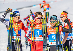 28.02.2019, Seefeld, AUT, FIS Weltmeisterschaften Ski Nordisch, Seefeld 2019, Nordische Kombination, Langlauf, im Bild v.l. Bernhard Gruber (AUT), Jarl Magnus Riiber (NOR), Akito Watabe (JPN) // f.l. Bernhard Gruber of Austria Jarl Magnus Riiber of Norway and Akito Watabe of Japan during the Cross Country Competition of Nordic Combined for the FIS Nordic Ski World Championships 2019. Seefeld, Austria on 2019/02/28. EXPA Pictures © 2019, PhotoCredit: EXPA/ Stefan Adelsberger