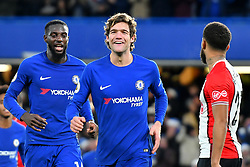 December 16, 2017 - London, England, United Kingdom - Chelsea Midfielder Marcos Alonso celebrates his late first half goal during the Premier League match between Chelsea and Southampton at Stamford Bridge, London, England on 16 Dec 2016. (Credit Image: © Kieran Galvin/NurPhoto via ZUMA Press)