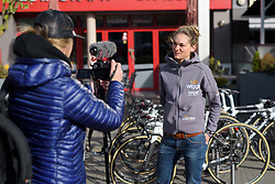 Claudia Lichtenberg being interviewed before the start at the Liege-Bastogne-Liege Femmes - a 135.5 km road race between Bastogne and Ans on April 23 2017 in Liège, Belgium.