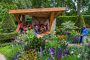 Katie Derham on The Morgan Stanley Garden with the National Youth Orchestra - The Chelsea Flower Show organised by the Royal Horticultural Society with M&G as its MAIN sponsor for the final year.