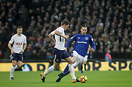 Jan Vertonghen of Tottenham Hotspur takes the ball from Gylfi Sigurddson of Everton.<br /> Premier league match, Tottenham Hotspur v Everton at Wembley Stadium in London on Saturday 13th January 2018.<br /> pic by Kieran Clarke, Andrew Orchard sports photography.