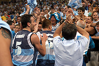 26/08/04 - ATHENS  - GREECE -  - BASKETBALL QUARTERFINAL MATCH   - Indoor Olympic Stadium - <br />ARGENTINA win (69) over GREECE (64) <br />Argentine celebration after win the match.<br />Here Arg. N*5 GINOBILI EMANUEL<br />© Gabriel Piko / Argenpress.com / Piko-Press