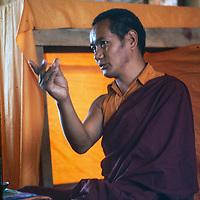 Tibetan Buddhist Lama Thubten Yeshi speaks to students in Kathmandu, Nepal.