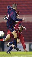 Photo. Jed Wee<br />Middlesbrough v Bradford Reserves, The Riverside, Middlesbrough. 25/02/2003.<br />Middlesbrough's Juninho scrambles home a goal on his return to the Riverside.