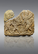Hittite relief sculpted orthostat stone panel of Herald's Wall Limestone, Karkamıs, (Kargamıs), Carchemish (Karkemish), 900-700 B.C. Anatolian Civilisations Museum, Ankara, Turkey.<br /> <br /> Two sphinxes standing on their hind legs on both sides attack to the winged horse standing on its hind legs in the middle. .<br />  <br /> If you prefer to buy from our ALAMY STOCK LIBRARY page at https://www.alamy.com/portfolio/paul-williams-funkystock/hittite-art-antiquities.html  - Type  Karkamıs in LOWER SEARCH WITHIN GALLERY box. Refine search by adding background colour, place, museum etc.<br /> <br /> Visit our HITTITE PHOTO COLLECTIONS for more photos to download or buy as wall art prints https://funkystock.photoshelter.com/gallery-collection/The-Hittites-Art-Artefacts-Antiquities-Historic-Sites-Pictures-Images-of/C0000NUBSMhSc3Oo