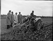 04/04/1960.04/04/1960.04 April 1960.Deutz tractor demonstrations at Collinstown.L-R: Mr R.J. Wally, Director McNeil Ltd, Mr F. Von Studnitz, Deutz Tractor Division Cologne, Mr Riessman of the  German Embassy and Mr S.M. Thieme, British Deutz Ltd. Tractor driver is Wicklow champion Mr William Woodruffe.