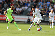 Leroy Fer of Swansea city ® in action. Barclays Premier league match, Swansea city v Manchester city at the Liberty Stadium in Swansea, South Wales on Sunday 15th May 2016.<br /> pic by Andrew Orchard, Andrew Orchard sports photography.