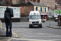 © Licensed to London News Pictures. 04/04/2013.Nottingham, UK. Photographers mob the prison van at Nottingham crown Court which brought Michael Philpott and Paul Mosley to receive their sentence today. The last day of the Philpott fire hearing. Three individuals, Mairead Philpott, Michael Philpott and Paul Mosley are sentenced for manslaughter of 6 children in Derby 2012 at Nottingham Crown Court. sentencing was postponed until 10:30am today (Thursday 4th April 2013)   .   Photo credit : Tom Maddick/LNP