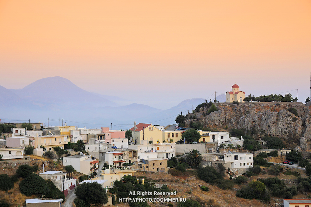 Panorama of Selia traditional Greek village in the evening. Crete, Greece