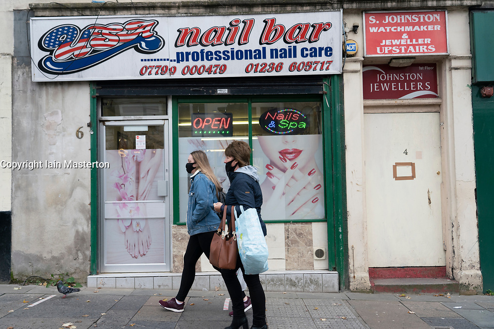 Airdrie, North Lanarkshire,Scotland, UK. 28 October 2020. Views of town centre in Airdrie which is a town in North Lanarkshire that might be subjected to Level 4 lockdown criteria under the Scottish Government's new coronavirus system to control the spread of the virus. Pictured; Nail bars will be forced to close in Level 4.  Iain Masterton/Alamy Live News