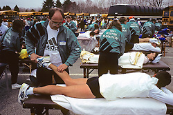Runner Getting Massage From Rick Gilde, Boston Marathon 1991