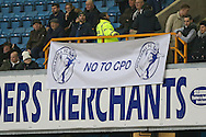 """a """"No to CPO"""" (compulsory purchase order) protest  banner is on display inside The Den to protest against Lewisham council, The Emirates FA Cup 3rd round match, Millwall v AFC Bournemouth at The Den in London on Saturday 7th January 2017.<br /> pic by John Patrick Fletcher, Andrew Orchard sports photography."""