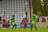 Forest Green Rovers Alexander Iacovitti(20) wins a header during the EFL Sky Bet League 2 match between Stevenage and Forest Green Rovers at the Lamex Stadium, Stevenage, England on 21 October 2017. Photo by Adam Rivers.