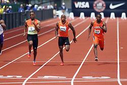 100 meter semifinal heat, Tyson Gay, Trell Kimmons, Marcus Rowland,